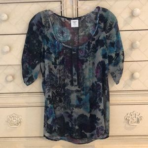 Sheer Abstract Floral Print Blouse
